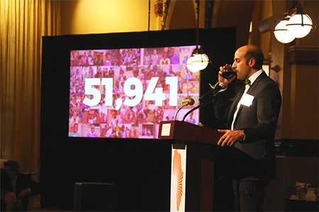 BT Founder & Chief Dreamer George Srour drinks a toast to enrolling 51,941 out-of-school children