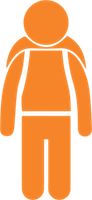 Icon of student standing with a backpack